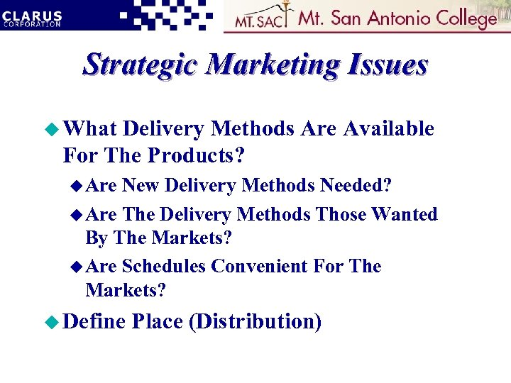Strategic Marketing Issues u What Delivery Methods Are Available For The Products? u Are