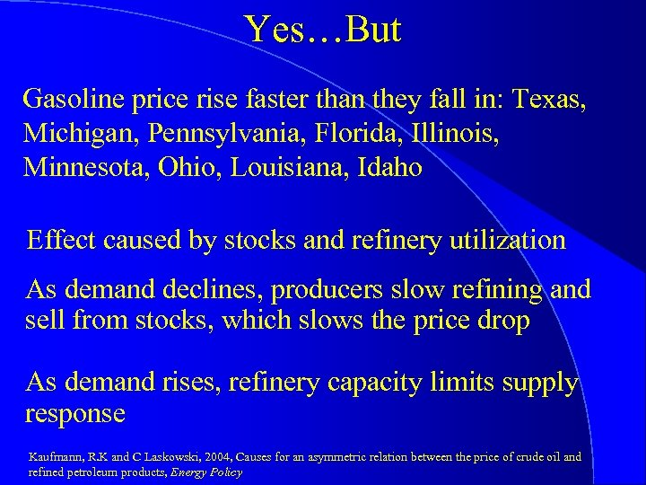 Yes…But Gasoline price rise faster than they fall in: Texas, Michigan, Pennsylvania, Florida, Illinois,