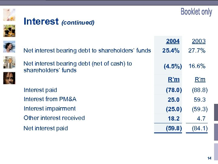 Interest (continued) 2004 2003 Net interest bearing debt to shareholders' funds 25. 4% 27.