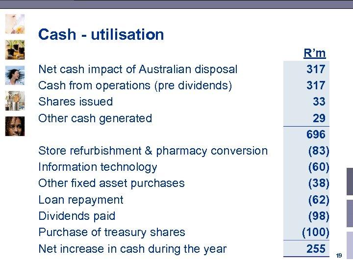 Cash - utilisation Net cash impact of Australian disposal Cash from operations (pre dividends)