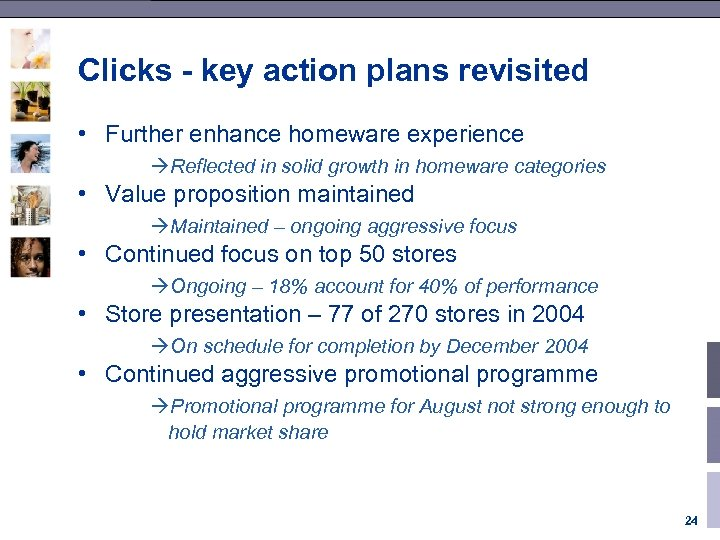 Clicks - key action plans revisited • Further enhance homeware experience àReflected in solid