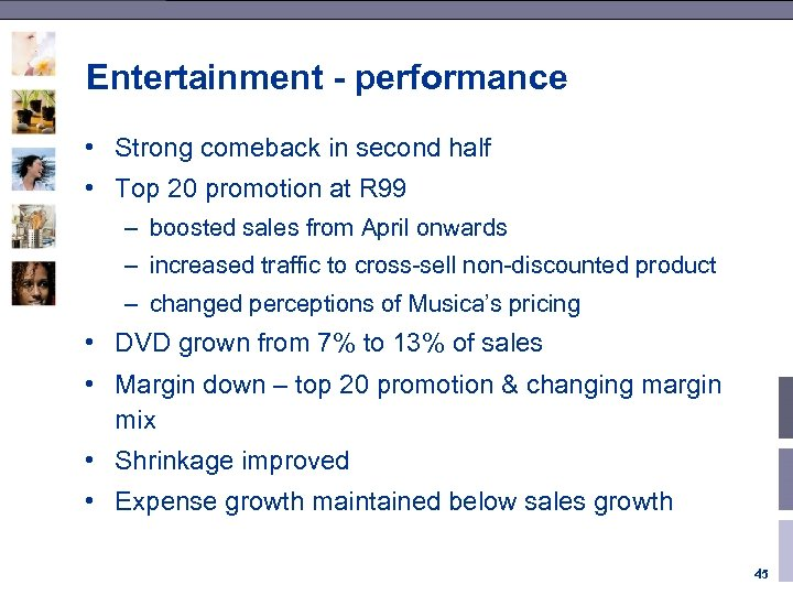 Entertainment - performance • Strong comeback in second half • Top 20 promotion at