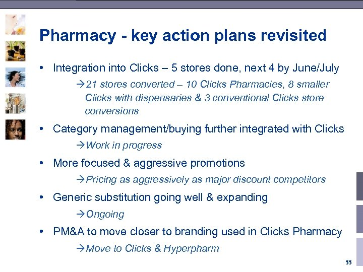 Pharmacy - key action plans revisited • Integration into Clicks – 5 stores done,