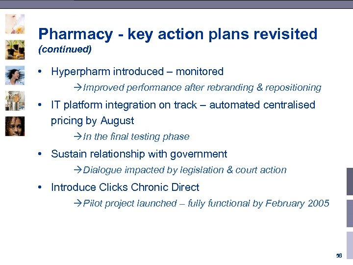 Pharmacy - key action plans revisited (continued) • Hyperpharm introduced – monitored àImproved performance