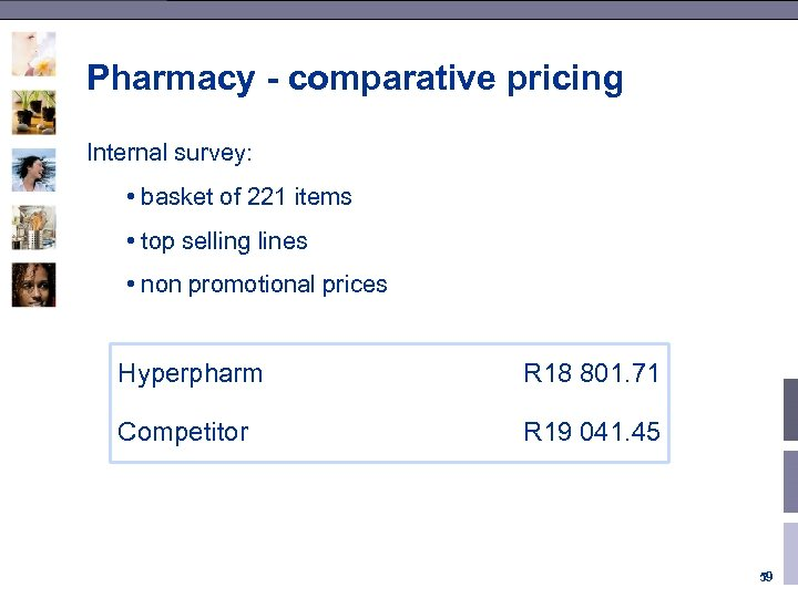 Pharmacy - comparative pricing Internal survey: • basket of 221 items • top selling