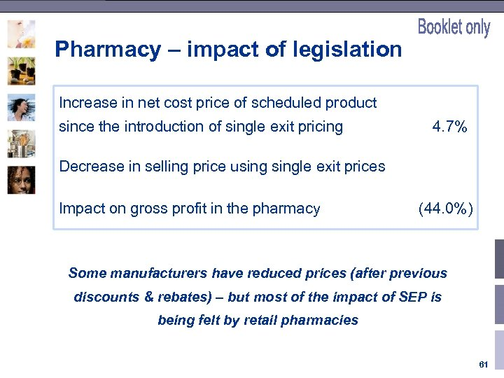 Pharmacy – impact of legislation Increase in net cost price of scheduled product since