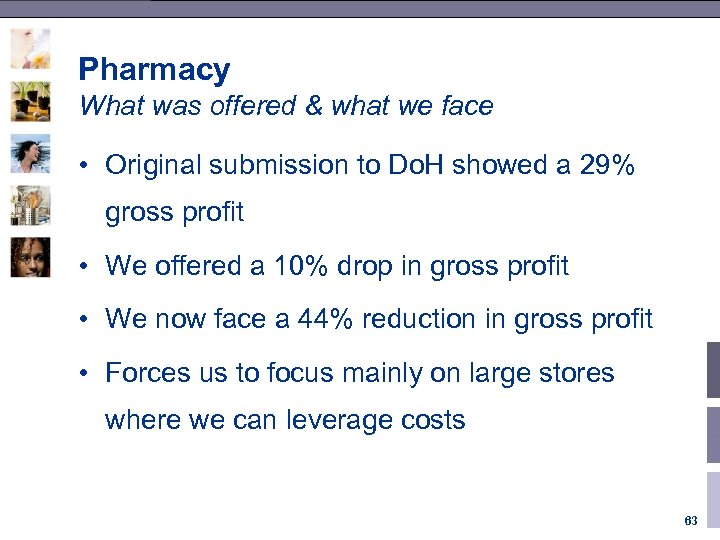 Pharmacy What was offered & what we face • Original submission to Do. H