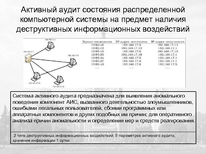 Активный аудит состояния распределенной компьютерной системы на предмет наличия деструктивных информационных воздействий Система активного