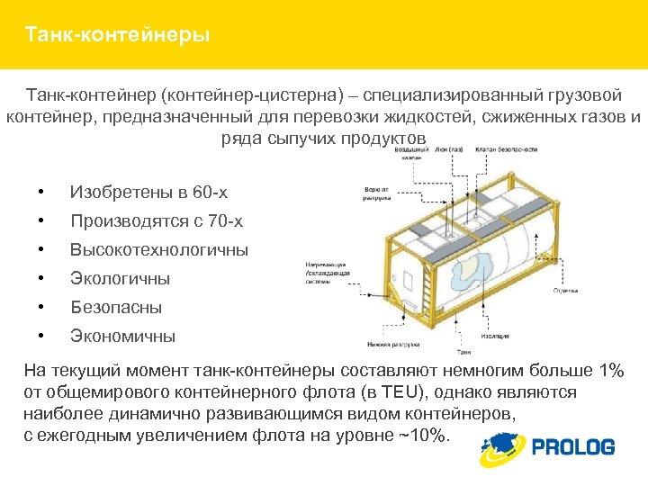 Танк-контейнеры Танк-контейнер (контейнер-цистерна) – специализированный грузовой контейнер, предназначенный для перевозки жидкостей, сжиженных газов и