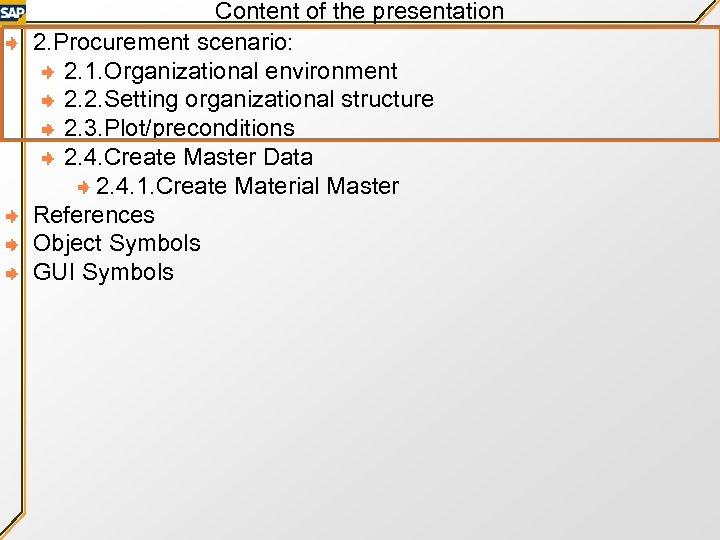 Content of the presentation 2. Procurement scenario: 2. 1. Organizational environment 2. 2. Setting