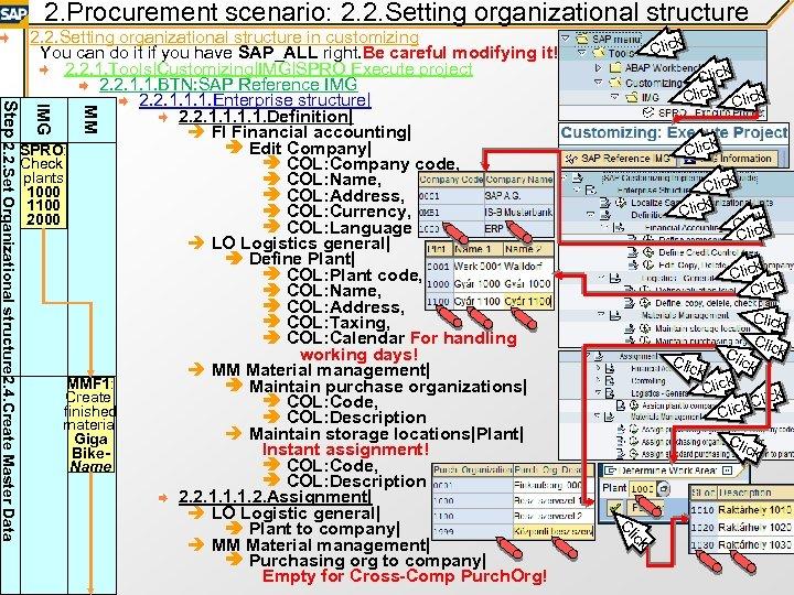 2. Procurement scenario: 2. 2. Setting organizational structure Click MM IMG Click ck Cliick