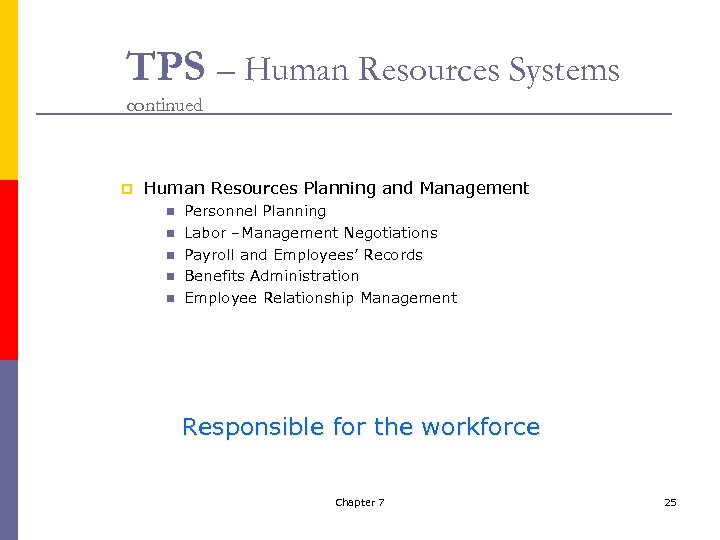 TPS – Human Resources Systems continued p Human Resources Planning and Management n n