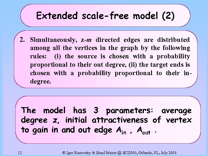 Extended scale-free model (2) 2. Simultaneously, z-m directed edges are distributed among all the