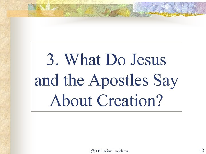 3. What Do Jesus and the Apostles Say About Creation? @ Dr. Heinz Lycklama
