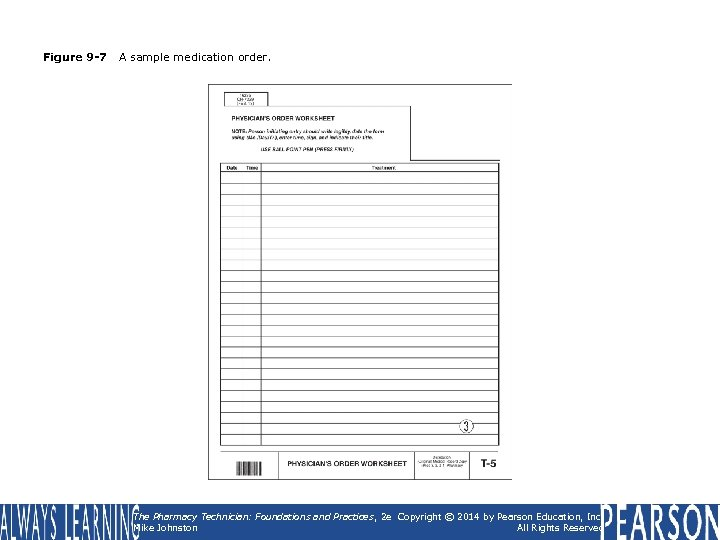 Figure 9 -7 A sample medication order. The Pharmacy Technician: Foundations and Practices ,