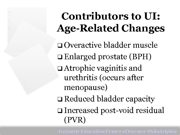 T L C Contributors to UI: Age-Related Changes q Overactive bladder muscle q Enlarged