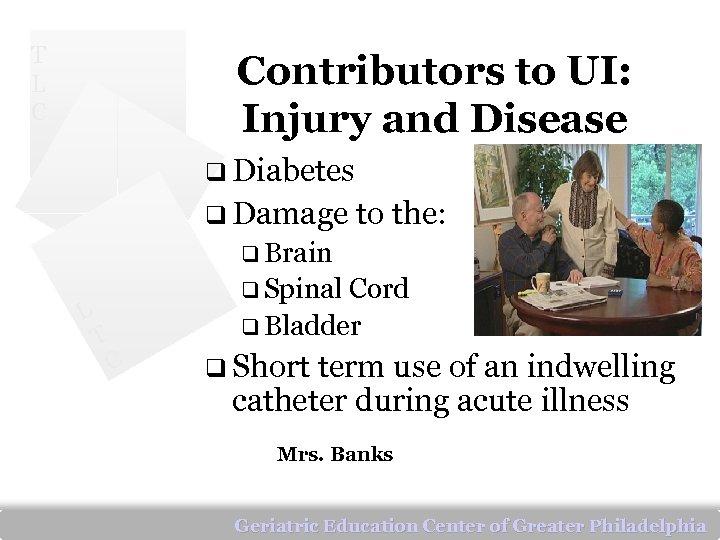 T L C Contributors to UI: Injury and Disease q Diabetes q Damage to