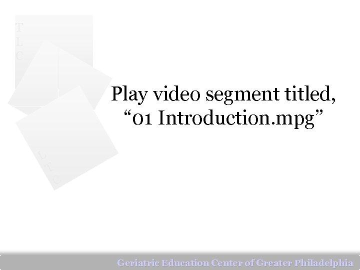 "T L C Play video segment titled, "" 01 Introduction. mpg"" L T C"