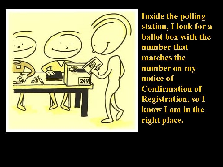 Inside the polling station, I look for a ballot box with the number that