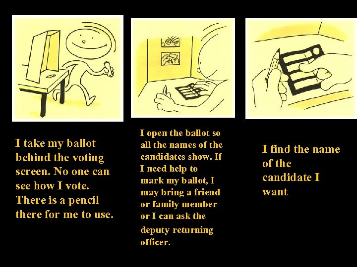 I take my ballot behind the voting screen. No one can see how I