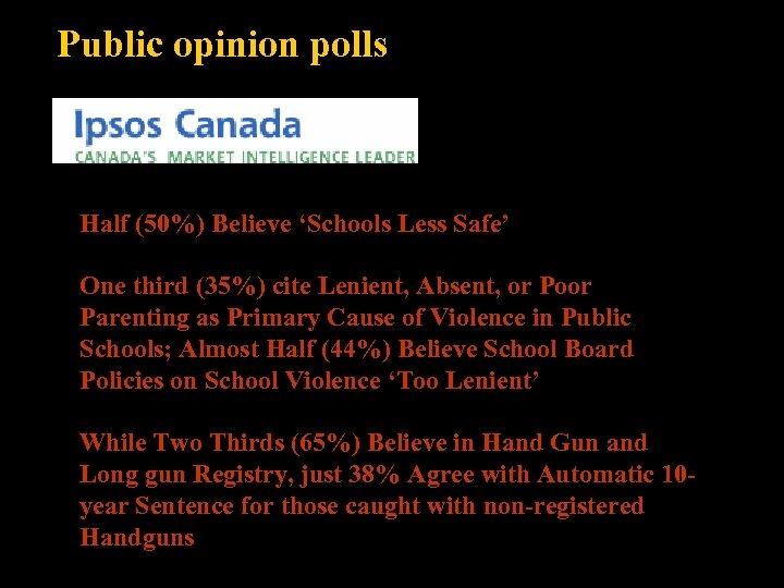 Public opinion polls Half (50%) Believe 'Schools Less Safe' One third (35%) cite Lenient,