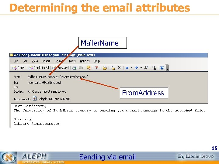 Determining the email attributes Mailer. Name From. Address 15 Sending via email