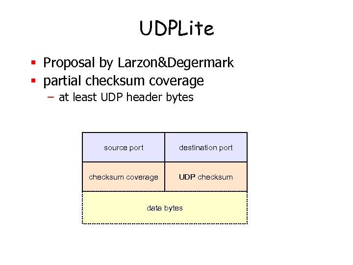 UDPLite § Proposal by Larzon&Degermark § partial checksum coverage – at least UDP header
