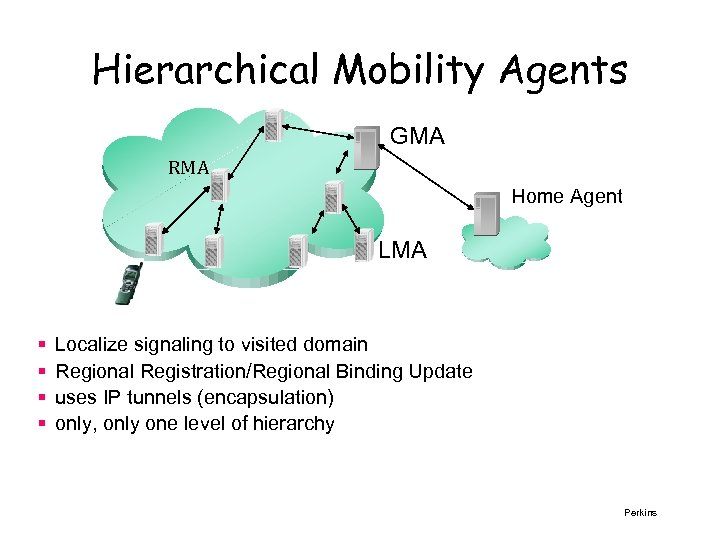 Hierarchical Mobility Agents GMA RMA Home Agent LMA § § Localize signaling to visited