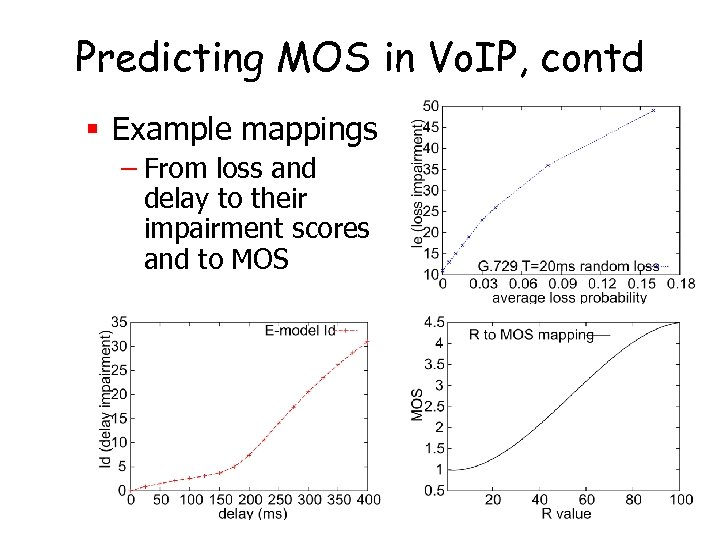 Predicting MOS in Vo. IP, contd § Example mappings – From loss and delay