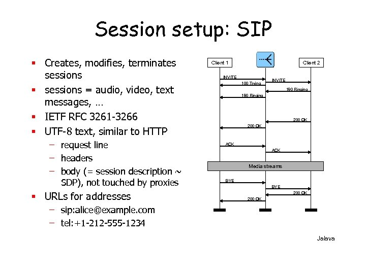 Session setup: SIP § Creates, modifies, terminates sessions § sessions = audio, video, text