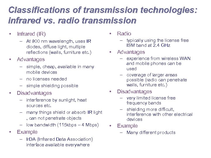 Classifications of transmission technologies: infrared vs. radio transmission • Infrared (IR) – At 900