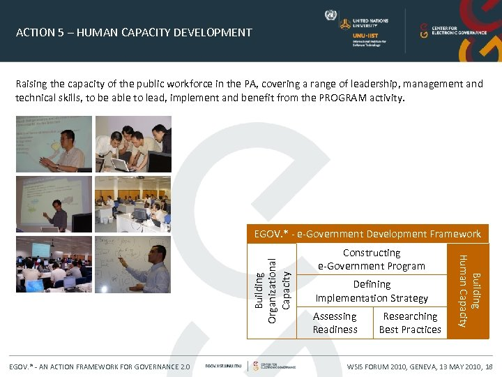 ACTION 5 – HUMAN CAPACITY DEVELOPMENT Raising the capacity of the public workforce in