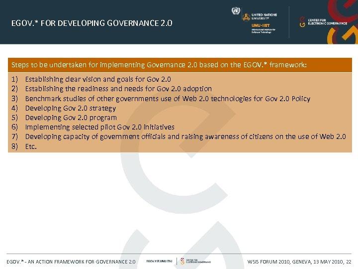 EGOV. * FOR DEVELOPING GOVERNANCE 2. 0 Steps to be undertaken for implementing Governance