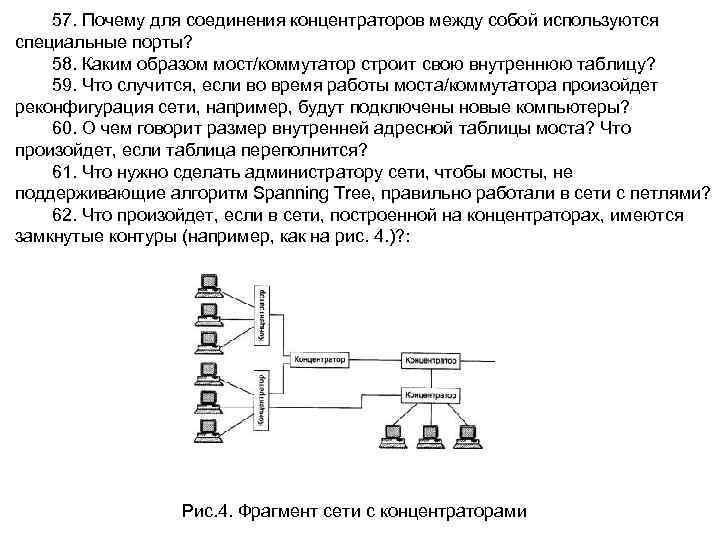 57. Почему для соединения концентраторов между собой используются специальные порты? 58. Каким образом мост/коммутатор