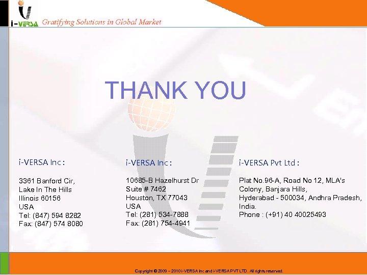 THANK YOU i-VERSA Inc : i-VERSA Pvt Ltd : 3361 Banford Cir, Lake In