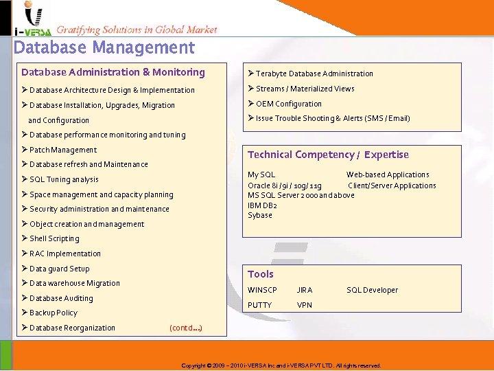 Database Management Database Administration & Monitoring Ø Terabyte Database Administration Ø Database Architecture Design
