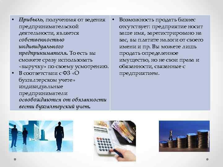 • Прибыль, полученная от ведения • Возможность продать бизнес предпринимательской отсутствует: предприятие носит