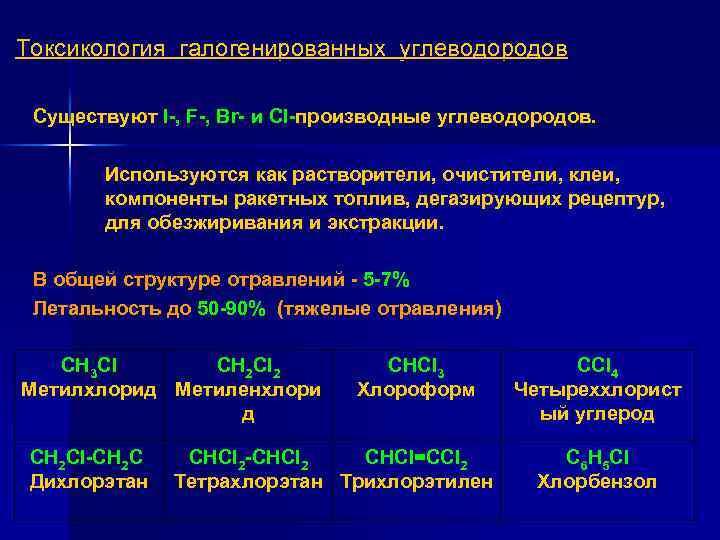 Токсикология галогенированных углеводородов Существуют I , F , Br и Cl производные углеводородов. Используются