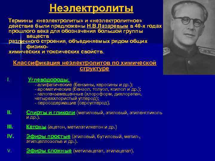 Неэлектролиты Термины «неэлектролиты» и «неэлектролитное» действие были предложены Н. В. Лазаревым в 40 х