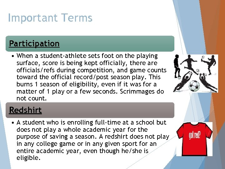 Important Terms Participation • When a student-athlete sets foot on the playing surface, score
