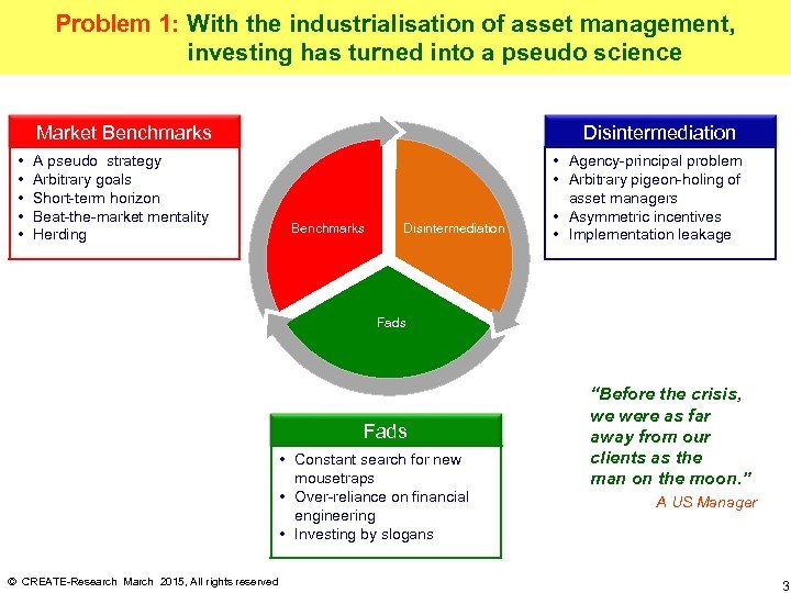 Problem 1: With the industrialisation of asset management, investing has turned into a pseudo