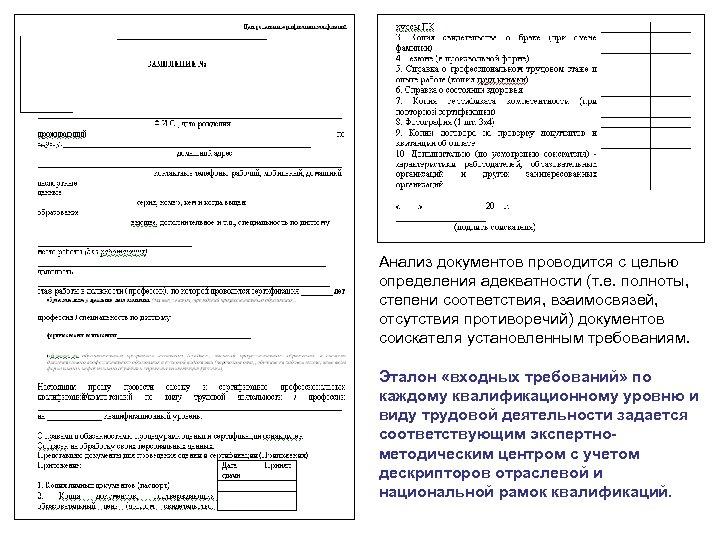Анализ документов проводится с целью определения адекватности (т. е. полноты, степени соответствия, взаимосвязей, отсутствия