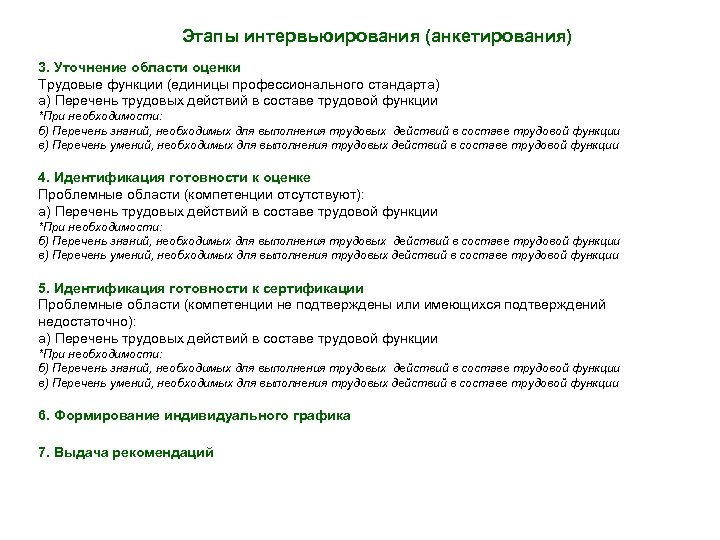 Этапы интервьюирования (анкетирования) 3. Уточнение области оценки Трудовые функции (единицы профессионального стандарта) а) Перечень