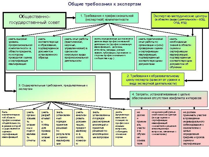 Общие требования к экспертам 1. Требования к профессиональной (экспертной) компетентности Общественногосударственный совет иметь высокий