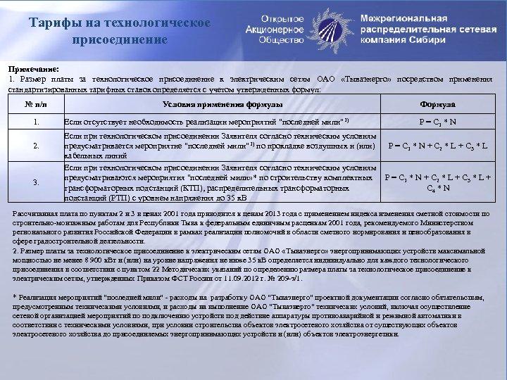 Тарифы на технологическое присоединение Примечание: 1. Размер платы за технологическое присоединение к электрическим сетям