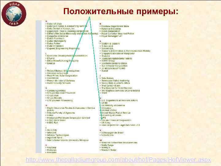 Положительные примеры: http: //www. thepalladiumgroup. com/about/hof/Pages/Hof. Viewer. aspx