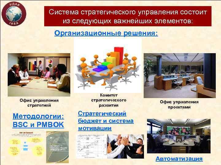 Система стратегического управления состоит из следующих важнейших элементов: Организационные решения: Офис управления стратегией Методологии: