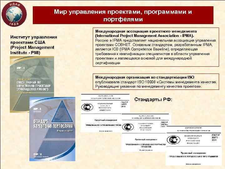 Мир управления проектами, программами и портфелями Институт управления проектами США (Project Management Institute -