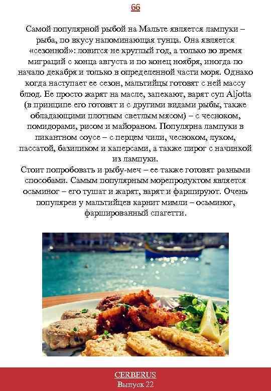 66 Самой популярной рыбой на Мальте является лампуки – рыба, по вкусу напоминающая тунца.