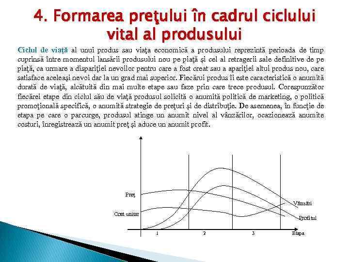 4. Formarea preţului în cadrul ciclului vital al produsului Ciclul de viaţă al unui